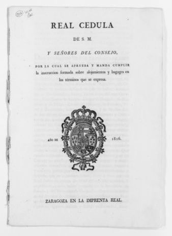 Royal Order of December 18, 1816 issued by King Fernando VII of Spain excepting certain persons from the duty to accommodate and shelter governmental officials and soldiers.