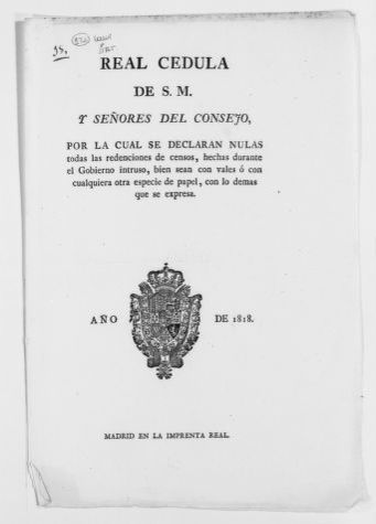 Royal Order of August 3, 1818 issued by King Fernando VII declaring null and void any exemption from payment of taxes approved under the government of former King José Napoleón.
