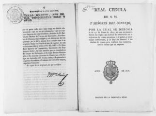Royal Order of August 3, 1818 issued by King Fernando VII declaring null and void the Law of January 17, 1805 published by the former government of King José Napoleón.  The new Law of August 3, 1818 gives owners of annuities complete freedom to celebrate annuity's agreements.