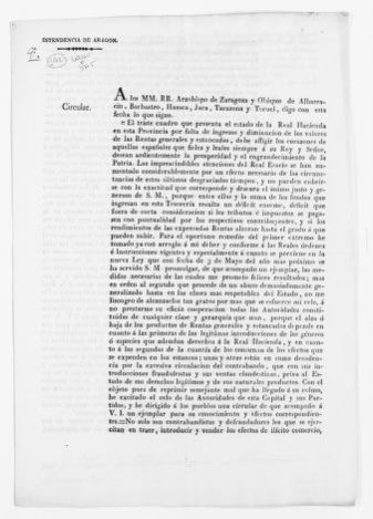 Order of April 3, 1831 issued by Antonio Saiz de Zafra, a member of the Finance Department, concerning smuggling in general and in particular, the smuggling of commodities.