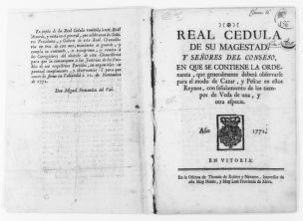 Royal Order of January 16, 1772 by King Carlos III issues regulations on hunting and fishing.