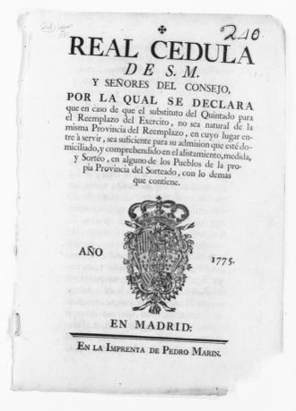 Royal Order of June 11, 1775 issued by King Carlos III, concerning the drafting of soldiers to serve in the Royal Armies.