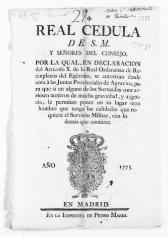 Royal Order of March 21, 1775 issued by King Carlos III amending Article X of the Royal Order of November 1770.  This Order of March 21, 1775 authorizes the Provincial Councils to grant leave to soldiers under certain circumstances.