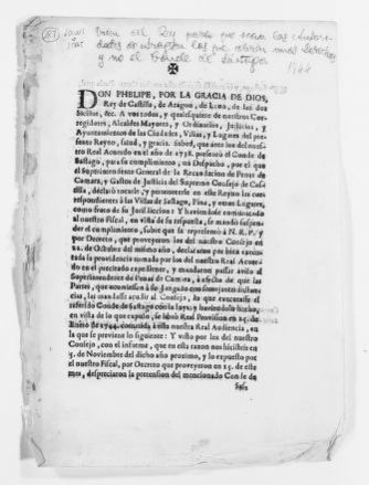 Royal Order of February 28, 1744 issued by Felipe V, concerning the right of the authorities of the Kingdom of Aragón to collect taxes and refusing these rights to the Count of Sástago.