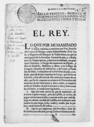 Royal Order of August 23, 1718 approving the Marquis of Valdeolmos' offer to supply bread, barley and straw for the Royal Armies.