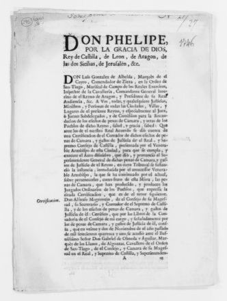 Royal Order of February 17, 1746 issued by King Felipe V, concerning administration of justice in the Kingdom.