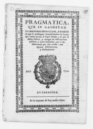 Royal Order of January 17, 1744 issued by King Felipe V, concerning the use of tax stamped paper.