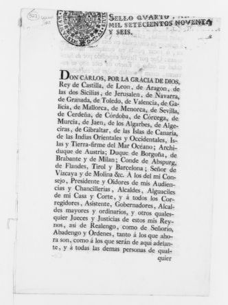 Royal Order of August 19, 1796 issued by King Carlos IV, concerning collection of taxes.