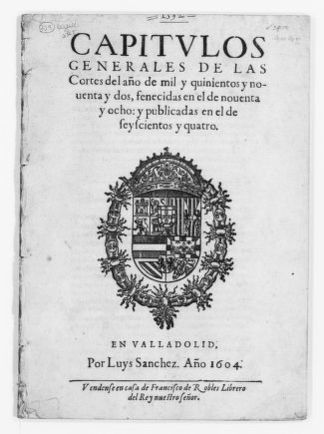 "Acts of the ""Cortes"" held in Valladolid in the years 1592 through 1598."