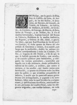 Royal Order of February 4, 1741 issued by King Felipe V, concerning collection of taxes.