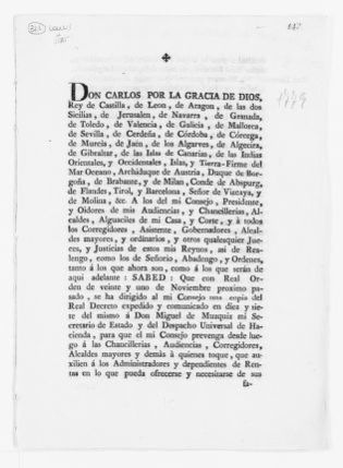 Royal Order of December 3, 1779 issued by King Carlos III, concerning collection of war taxes.