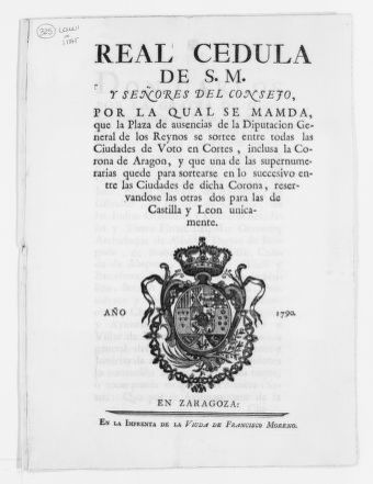 "Royal Order of April 10, 1790 issued by King Carlos IV, providing that general deputies to the ""Cortes"" vacancies should be filled by representatives of the cities having authorization to vote in the General ""Cortes""."
