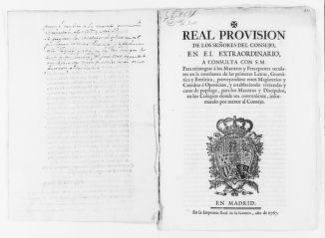 Royal Order of October 5, 1777 issued by King Carlos III, concerning grammar education.