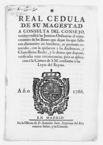 Royal Order of October 9, 1776 issued by King Carlos III, concerning civil procedure in succession matters before the courts.