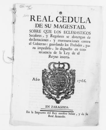 Royal Order of September 18, 1776 issued by King Carlos III punishing religious persons who defame the Spanish Crown.