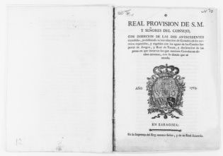 Royal Order of September 14, 1785 issued by King Carlos III forbidding the pasturing of cattle in the lands irrigated by the canals known by the names of Aragón and Tausté.