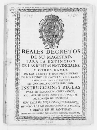 Royal Decree of July 4, 1770 issued by King Carlos III, concerning collection of taxes.