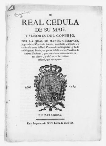 Royal Order of May 22, 1783 issued by King Carlos III ordering the enforcement of a treaty signed and ratified by His Majesty the King of Sardinia, concerning succession rights among the vassals of both Kingdoms.