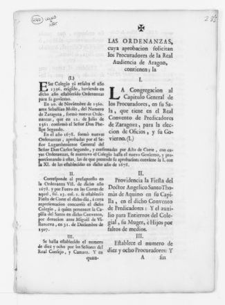 Bylaws of the Royal Monastery of Predicadores of the city of Zaragoza presented to the Royal Audiencia of the Kingdom of Aragón for approval.  [Ca. XIX century].