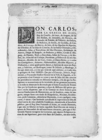Royal Order of September 11, 1764 issued by King Carlos III concerning collection of taxes from the Church.