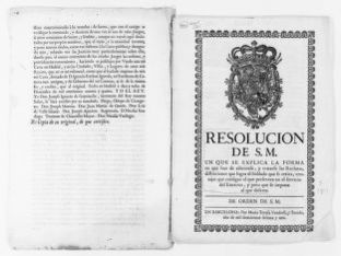 Royal Order issued in the year 1761 by King Carlos III regulating the recruitment of soldiers, their rights to retirement and other privileges.  Includes penalties for desertion.