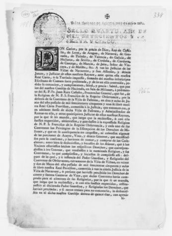 """Royal Order of the year 1765 issued by King Carlos III granting the religious order of San Francisco certain rights known as """"Derechos de Millones""""."""