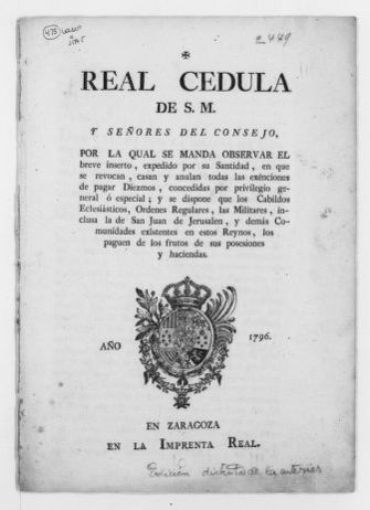 Royal Order of June 8, 1796 enforcing a Papal Bull whereby all religious and military institutions including the Order of San Juan de Jerusalen are required to pay taxes.