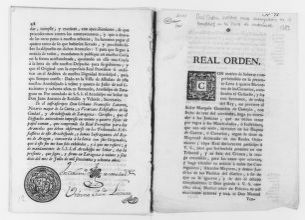 Royal Order of February 24, 1783 issued by King Carlos III concerning the capture of vagabonds.