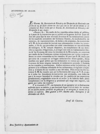 Order issued by the Secretary of State of the Kingdom of Aragón, concerning payment of debts incurred by the French Government with regard to Spanish nationals.  [September 7, 1816].