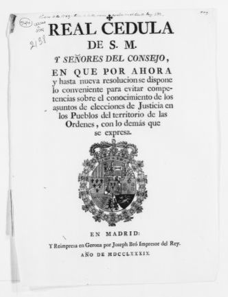 Royal Order of 1789 concerning the election of judges in the villages of the Kingdom.