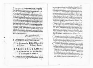 Legal opinion by Arcediano de Zaragoza and the Archprelate of Daroca, concerning dowry clause in the articles of marriage executed between the Count of Aranda and his deceased wife, the Countess Luisa Manrique y Padilla.  [April 5, 1647].