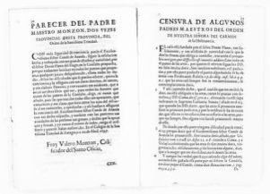 Legal opinion by the Fathers of the religious order of Nuestra Señora del Carmen de la Observancia, concerning dowry clause executed in the articles of marriage between the Count of Aranda and his deceased wife, the Countess Luisa Manrique y Padilla.  [April 14, 1647].