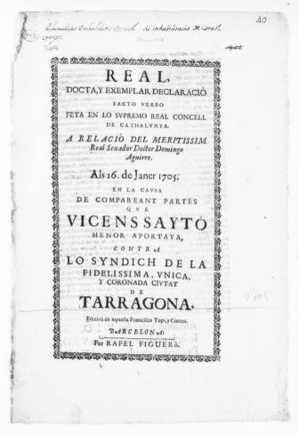 Royal Judgment of January 26, 1705 issued by Domingo Aguirre on behalf Vicente Sayto, a minor, in the case against the Syndic of the city of Tarragona for support rights.