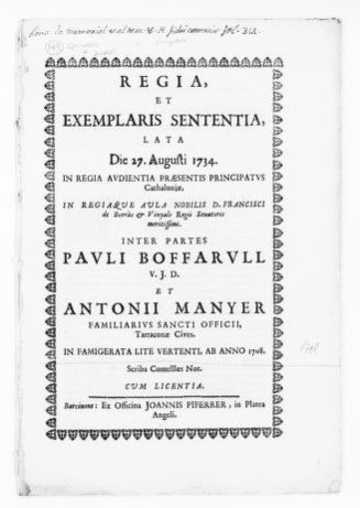 Royal Judgment of August 27, 1734 issued by Francisco de Borrás Viñals on behalf of Antonio Mañer of the city of Tarragona in the case against Pablo Boffarull, concerning certain inheritance rights in the estate of the spouses Rafael and Tecla Guasch.