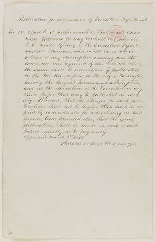 Abraham Lincoln papers: Series 1. General Correspondence. 1833-1916: Montgomery Blair to Abraham Lincoln, Thursday, April 11, 1861 (Extract; Advertising for contracts; endorsed by Blair)