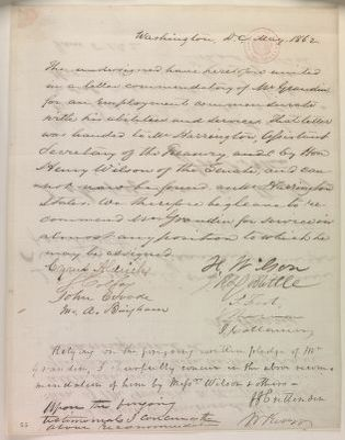 Abraham Lincoln papers: Series 1. General Correspondence. 1833-1916: Cyrus Aldrich, et al., May-June 1862 (Recommendations for William Grandin)