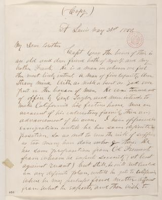 Abraham Lincoln papers: Series 1. General Correspondence. 1833-1916: Montgomery Blair to James Blair, Friday, May 31, 1850 (Recommendation; endorsed by Francis P. Blair, Jr.)