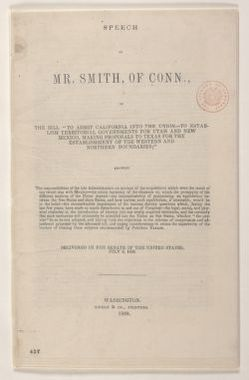 Abraham Lincoln papers: Series 1. General Correspondence. 1833-1916: Truman Smith, Monday, July 08, 1850 (Printed Pamphlet on Compromise of 1850)