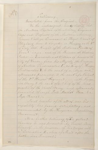 Abraham Lincoln papers: Series 1. General Correspondence. 1833-1916: Lazar Meczaros, Louis Kossuth, and Henry Dembinsky, Monday, July 07, 1851 (Recommendation for Emanuel J. Pleyel; attested by F.A. Stuppy)