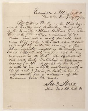 Abraham Lincoln papers: Series 1. General Correspondence. 1833-1916: Samuel Hall, Saturday, January 24, 1852 (Recommendation for William Bewley)