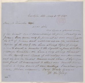 Abraham Lincoln papers: Series 1. General Correspondence. 1833-1916: W. H. Gray to Abraham Lincoln, Monday, May 31, 1858 (Invitation)