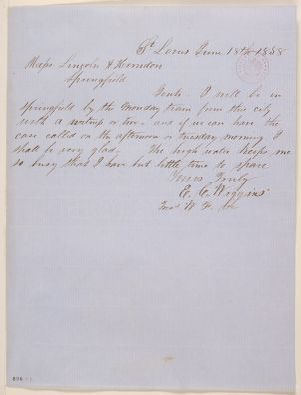 Abraham Lincoln papers: Series 1. General Correspondence. 1833-1916: E. C. Wiggins to Lincoln & Herndon, Friday, June 18, 1858 (Legal)