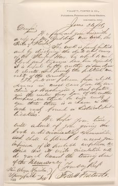Abraham Lincoln papers: Series 1. General Correspondence. 1833-1916: Foster & Follett Company to Abraham Lincoln, Saturday, June 26, 1858 (Solicitation)