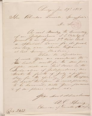 Abraham Lincoln papers: Series 1. General Correspondence. 1833-1916: Chicago German Club to Abraham Lincoln, Tuesday, June 29, 1858 (Invitation)