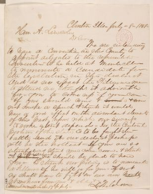 Abraham Lincoln papers: Series 1. General Correspondence. 1833-1916: Lawrence Weldon to Abraham Lincoln, Thursday, July 08, 1858 (Senate)