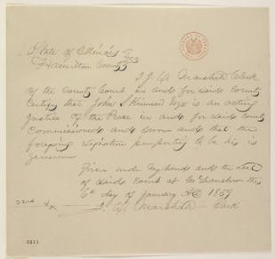Abraham Lincoln papers: Series 1. General Correspondence. 1833-1916: John S. Kinnear, Friday, January 06, 1860 (Affidavit)