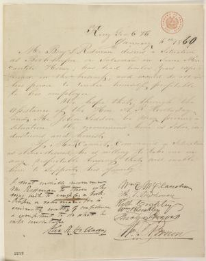 Abraham Lincoln papers: Series 1. General Correspondence. 1833-1916: William E. McClanahan, et al., Friday, January 06, 1860 (Petition; recommendation)