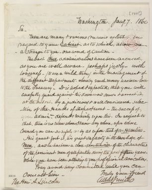 Abraham Lincoln papers: Series 1. General Correspondence. 1833-1916: Albert J. Smith to Abraham Lincoln, Monday, January 07, 1861 (Cabinet recommendations)