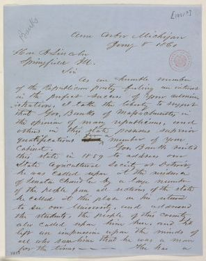 Abraham Lincoln papers: Series 1. General Correspondence. 1833-1916: George D. Hill to Abraham Lincoln, Tuesday, January 08, 1861 (Cabinet recommendations)