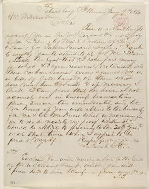 Abraham Lincoln papers: Series 1. General Correspondence. 1833-1916: Jacob Stein to William H Herndon, Monday, January 09, 1860